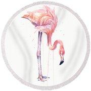 Flamingo Watercolor - Facing Left Round Beach Towel by Olga Shvartsur
