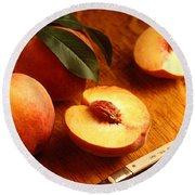 Flavorcrest Peaches Round Beach Towel by Photo Researchers