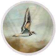 Flight Of The Killdeer Round Beach Towel by Jai Johnson