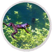 Floating Frog Round Beach Towel by Nick Gustafson