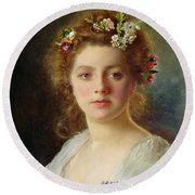 Flora Round Beach Towel by Gustave Jacquet