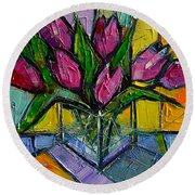 Floral Miniature - Abstract 0615 - Pink Tulips Round Beach Towel by Mona Edulesco