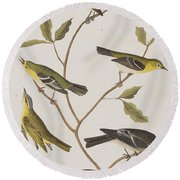Fly Catchers Round Beach Towel by John James Audubon