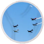 Fly Me To The Moon Round Beach Towel by Marco Oliveira