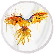 Flying Parrot Watercolor Round Beach Towel by Marian Voicu