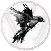Flying Raven Round Beach Towel by Suren Nersisyan