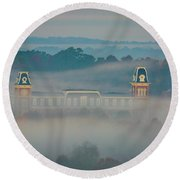 Fog At Old Main Round Beach Towel by Damon Shaw