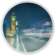 Foggy Mist Covered Westminster Bridge Round Beach Towel by Martin Newman
