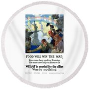 Food Will Win The War Round Beach Towel by War Is Hell Store