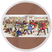 Football In The Middle Ages Round Beach Towel by Pat Nicolle