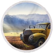 Ford In The Fog Round Beach Towel by Debra and Dave Vanderlaan