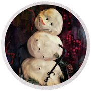 Forest Snowman Round Beach Towel by Lois Bryan