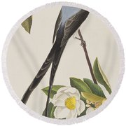 Fork-tailed Flycatcher  Round Beach Towel by John James Audubon