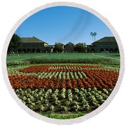 Formal Garden At The University Campus Round Beach Towel by Panoramic Images