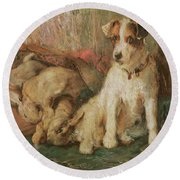 Fox Terrier With The Day's Bag Round Beach Towel by English School