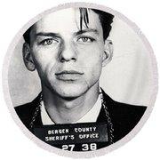 Frank Sinatra Mug Shot Vertical Round Beach Towel by Tony Rubino