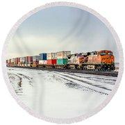 Freight Train Round Beach Towel by Todd Klassy