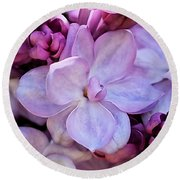 French Lilac Flower Round Beach Towel by Rona Black