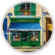 French Pastry Shop Round Beach Towel by Marilyn Dunlap