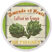 French Vegetable Sign 2 Round Beach Towel by Debbie DeWitt