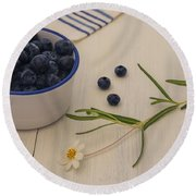 Fresh Blueberries Round Beach Towel by Kim Hojnacki