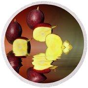 Fresh Ripe Mango Fruits Round Beach Towel by David French
