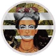 Frida Kahlo And Joan Crawford Round Beach Towel by Luigi Tarini