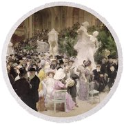 Friday At The Salon Round Beach Towel by Jules Alexandre Grun