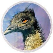 Friend Emu Round Beach Towel by Diana Angstadt