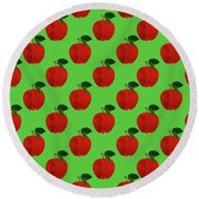 Fruit 02_apple_pattern Round Beach Towel by Bobbi Freelance