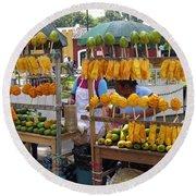 Fruit Stand Antigua  Guatemala Round Beach Towel by Kurt Van Wagner