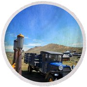 Fuelin' Up Round Beach Towel by Laurie Search