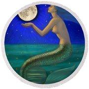 Full Moon Mermaid Round Beach Towel by Sue Halstenberg