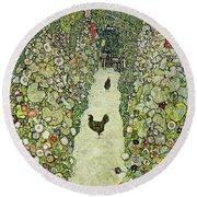 Garden With Chickens Round Beach Towel by Gustav Klimt
