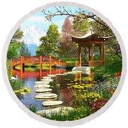 Gardens Of Fuji Round Beach Towel by Dominic Davison