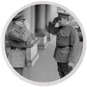 General John Pershing Saluting Babe Ruth Round Beach Towel by War Is Hell Store