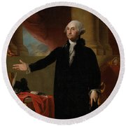 George Washington Lansdowne Portrait Round Beach Towel by War Is Hell Store