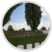 Round Beach Towel featuring the photograph German Bunker At Tyne Cot Cemetery by Travel Pics