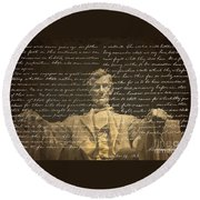 Gettysburg Address Round Beach Towel by Diane Diederich