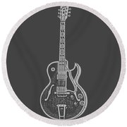 Gibson Es-175 Electric Guitar Tee Round Beach Towel by Edward Fielding