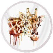 Giraffe Head Round Beach Towel by Marian Voicu