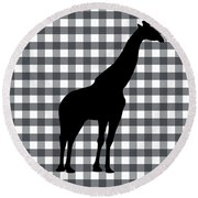 Giraffe Silhouette Round Beach Towel by Linda Woods