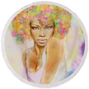 Girl With New Hair Style Round Beach Towel by Lilia D
