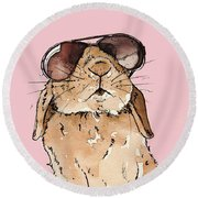 Glamorous Rabbit Round Beach Towel by Katrina Davis