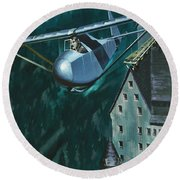 Glider Escape From Colditz Castle Round Beach Towel by Wilf Hardy