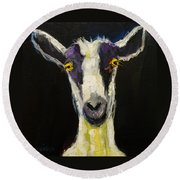 Goat Gloat Round Beach Towel by Diane Whitehead