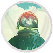 God Is An Astronaut Round Beach Towel by Fran Rodriguez