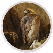 Golden Eagles At Their Eyrie Round Beach Towel by Archibald Thorburn