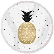 Golden Pineapple Round Beach Towel by Elisabeth Fredriksson