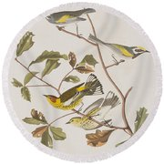 Golden Winged Warbler Or Cape May Warbler Round Beach Towel by John James Audubon
